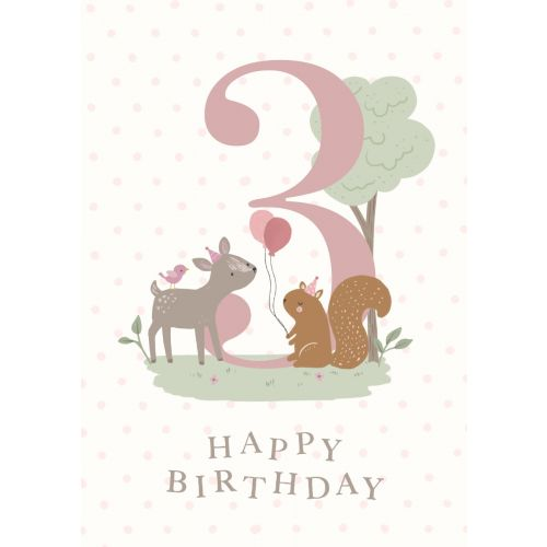 Personalised Woodland Design 3rd Birthday Card