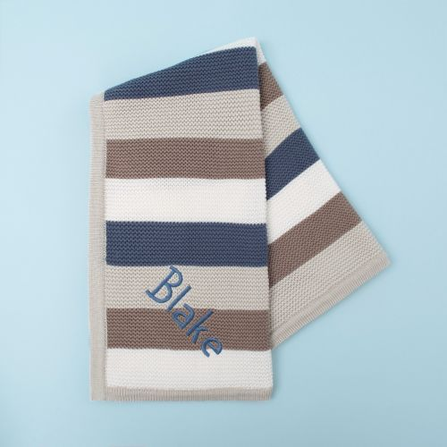 Personalized Blue Stripe Knitted Blanket