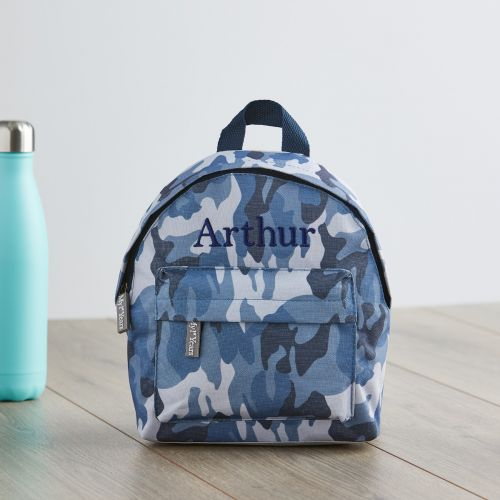 Personalized Blue Camouflage Print Mini Backpack