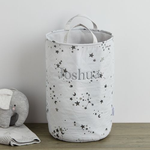 Personalised Grey Tall Ditsy Star Storage Bag