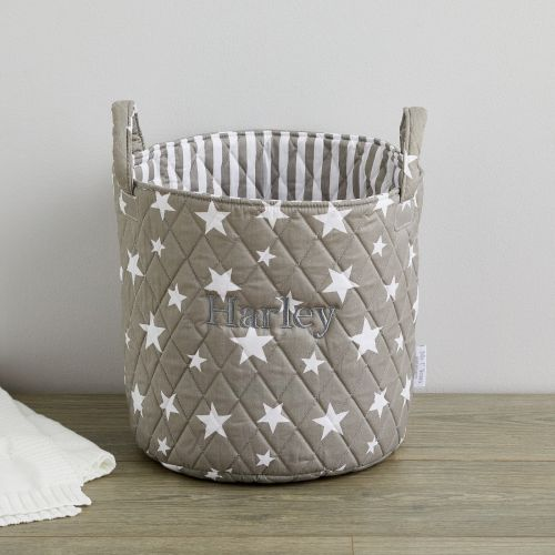 Personalized Medium Gray Star Storage Bag