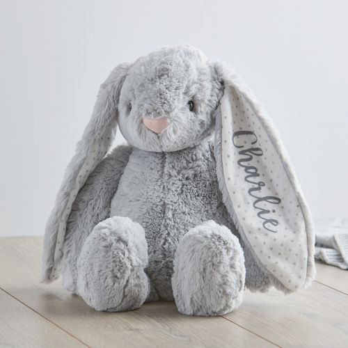 Personalized Medium Gray Bunny Stuffed Animal