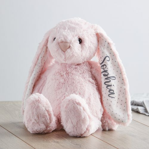 Personalized Medium Pink Bunny Stuffed Animal