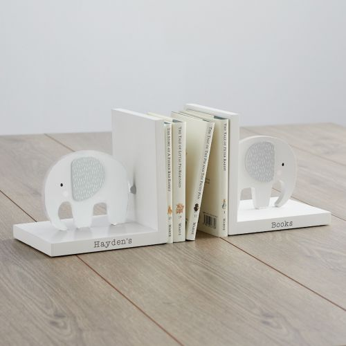 Personalized Gray Elephant Bookends Main