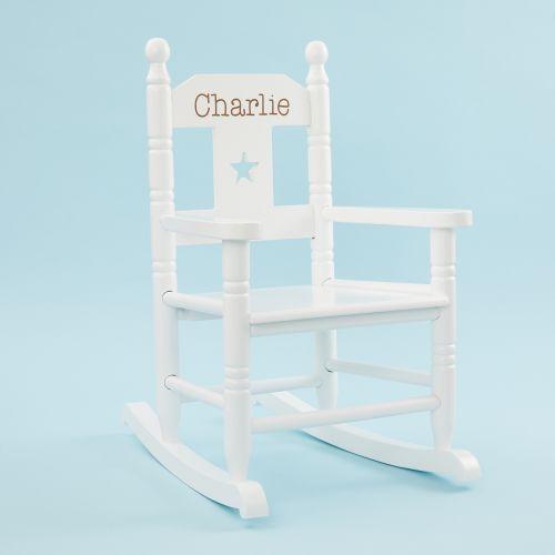 Personalised White Star Children's Rocking Chair