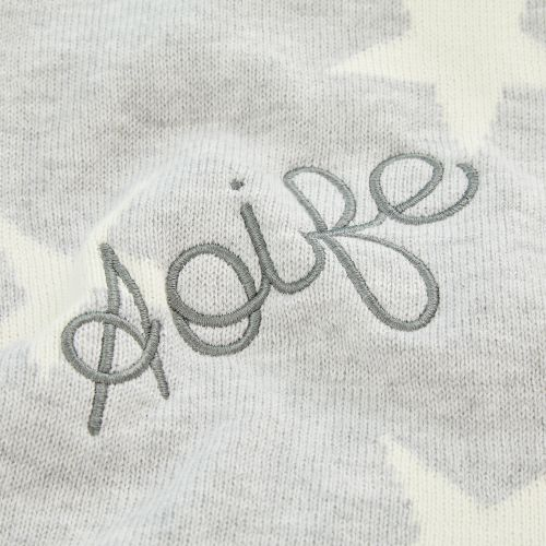 Personalized Gray Star Knit Blanket