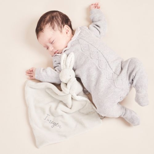 Personalised Grey Super Soft Bunny Comforter