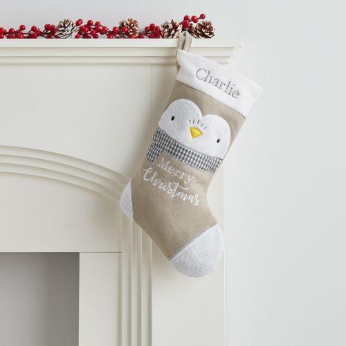 Personalised Small Fleece Penguin Stocking