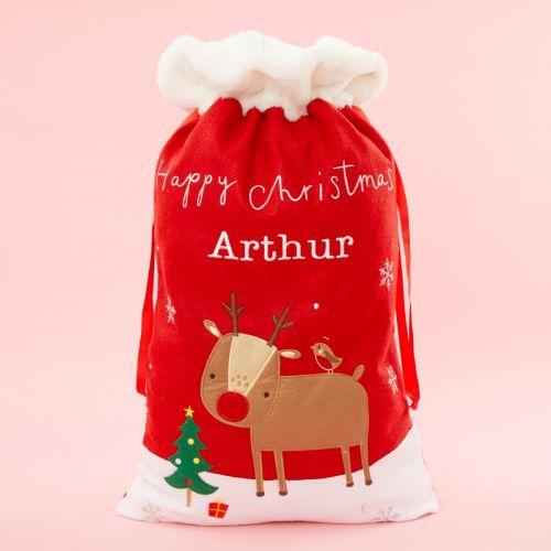 Personalised Fur Top Reindeer Christmas Sack