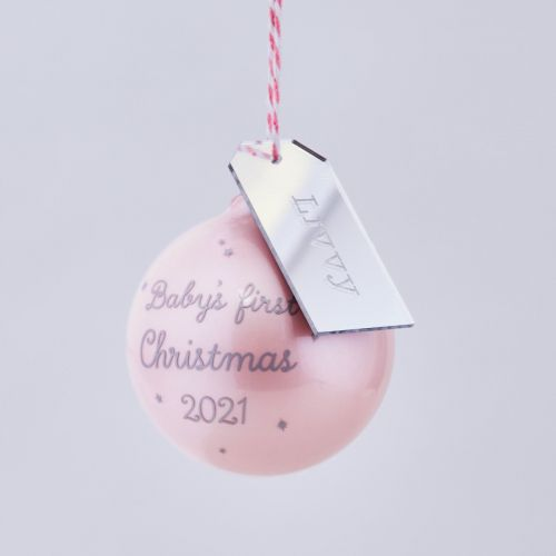 Personalised Pink 1st Christmas Bauble