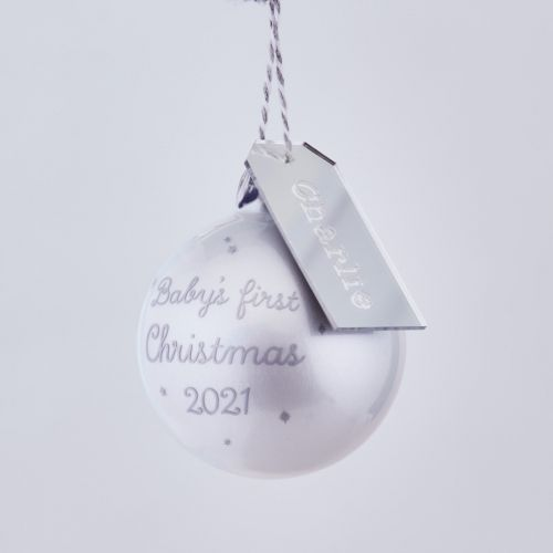 Personalised Grey 1st Christmas Bauble
