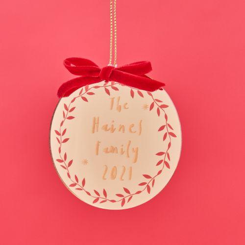 Personalised Gold Medallion Christmas Tree Decoration