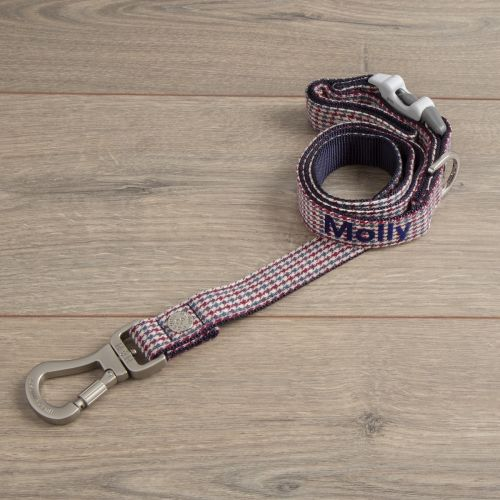 Personalised Tweed Dog Lead - Caramel