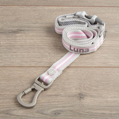 Personalised Stripe Dog Lead - Pink