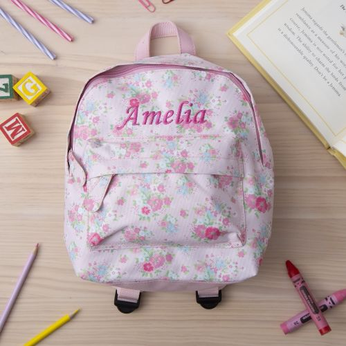 Personalized Pink Floral Mini Backpack