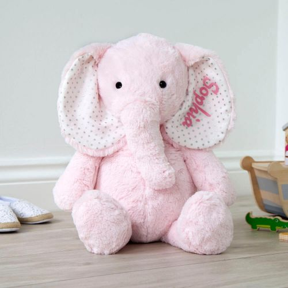 Personalized Large Pink Elephant Stuffed Animal