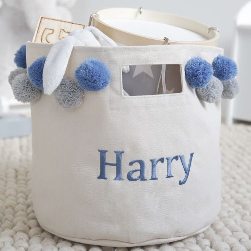 Personalised Medium Canvas Storage Bag with Blue & Grey Pom Poms