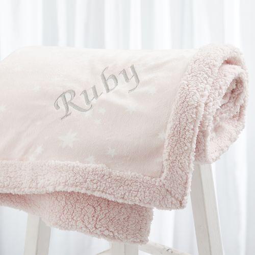 Personalised Luxury Pink Star Print Blanket