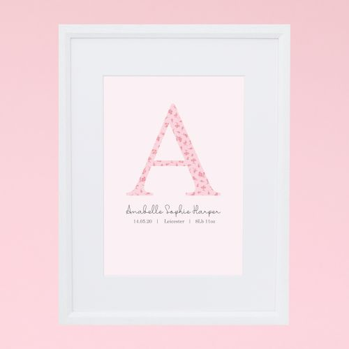 Personalised Pink Floral Design Initial Wall Art