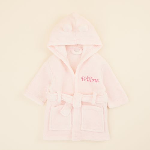 Personalised Pink Hooded Fleece Robe
