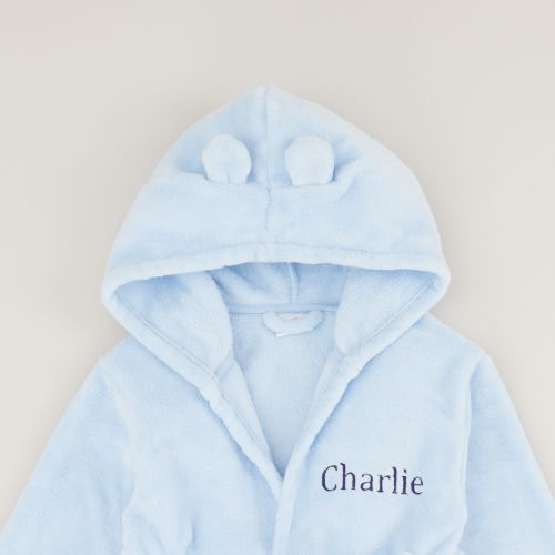 Personalised Blue Hooded Fleece Robe