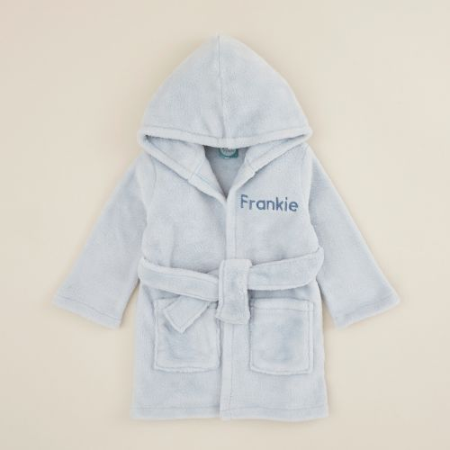 Personalized Blue Hooded Fleece Robe
