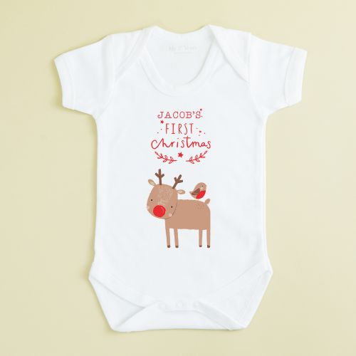Personalized White 1st Christmas Reindeer Design Bodysuit