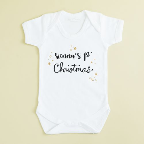 Personalized White My 1st Christmas Design Bodysuit