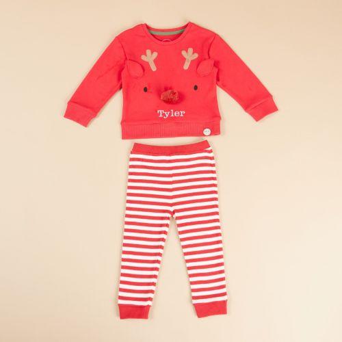 Personalised Red Reindeer Christmas Pyjamas