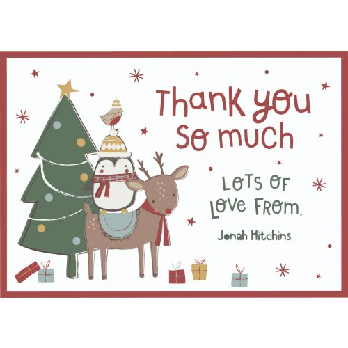 Personalised Classic Christmas Design 'Thank You' Postcards (Pack of 12)