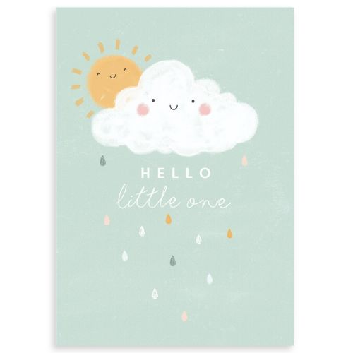 Personalised Cloud Design New Baby Greetings Card
