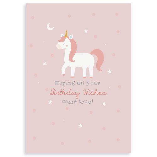 Personalized Unicorn Design Children's Birthday Greetings Card