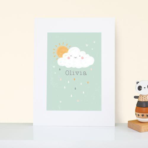 Personalised Cloud Design Nursery Wall Art