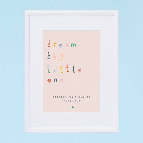 Personalised Colourful 'Dream Big Little One' Wall Art