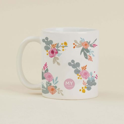 Personalised Floral Print 'Lucky' Mug