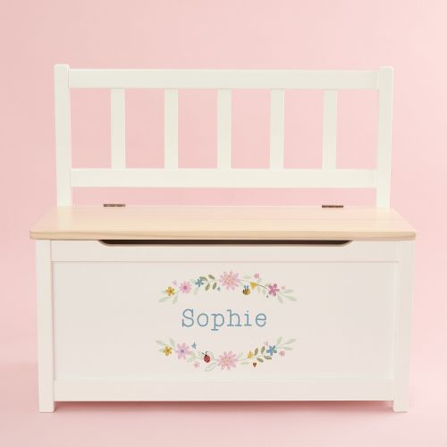 Personalised Floral Design Toy Bench
