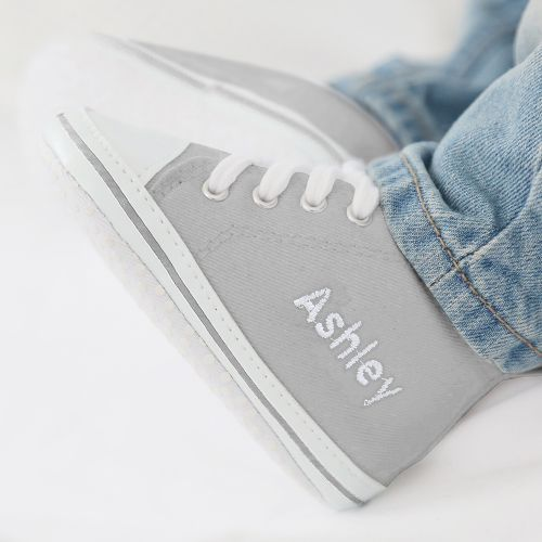 Personalised Grey High Tops Trainers