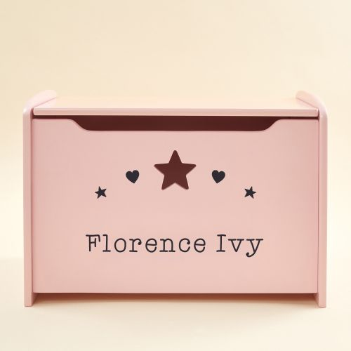 Personalised Pink Hearts Design Toy Box