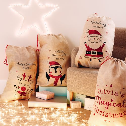 Personalized Reindeer Design Hessian Christmas Sack