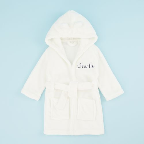 Personalized Ivory Hooded Fleece Robe