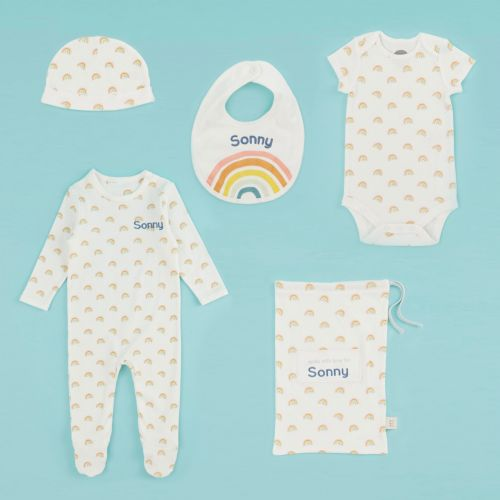 Personalised Rainbow Print Organic Complete Baby Gift Set