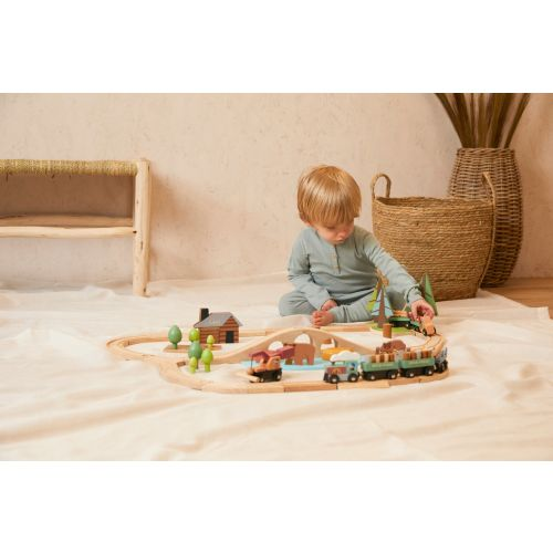 Personalised Tenderleaf Wild Pines Wooden Toy Train Set