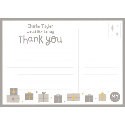 Personalised Grey Christmas Design 'Thank You' Postcards (Pack of 12)