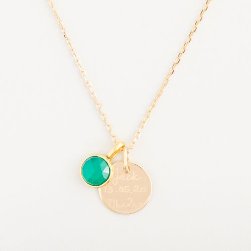 Personalised Merci Maman 18k Gold Plated Message Necklace with Birthstone