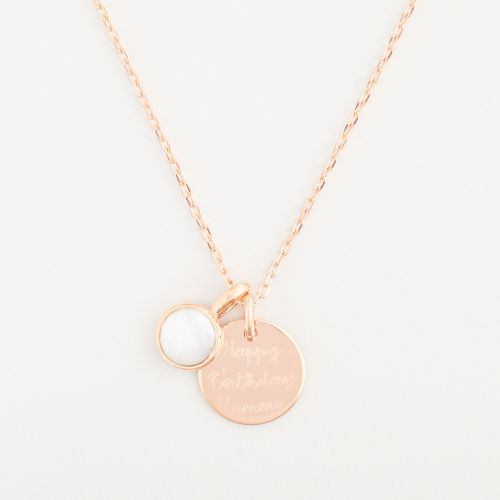 Personalised Merci Maman 18k Rose Gold Plated Message Necklace with Birthstone