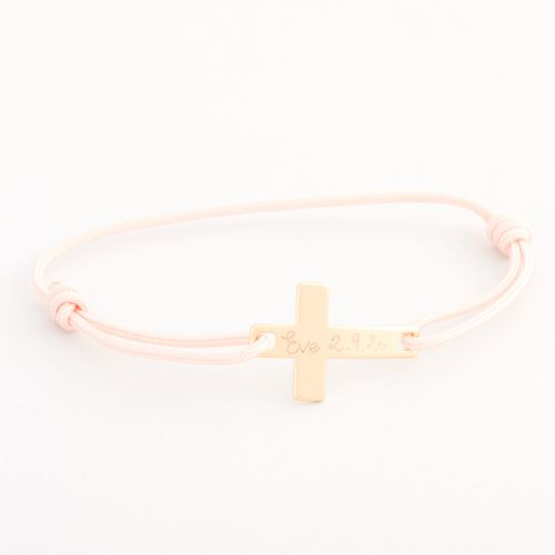 Personalised Merci Maman Children's Gold Flat Cross Bracelet