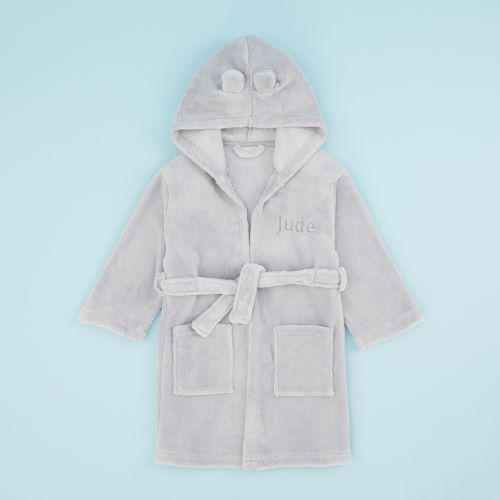 Personalized Gray Hooded Fleece Robe