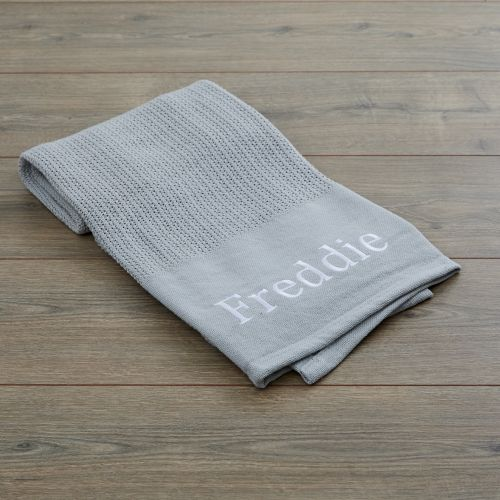 Personalized Gray Cellular Blanket