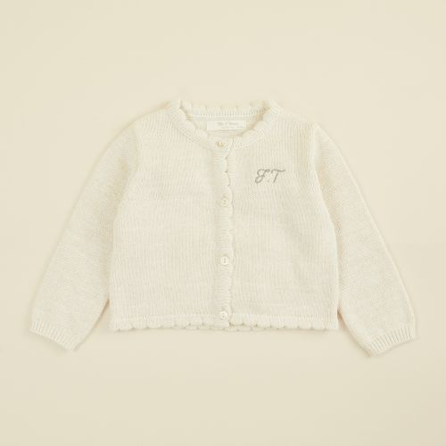 Personalized Oatmeal Knitted Cardigan