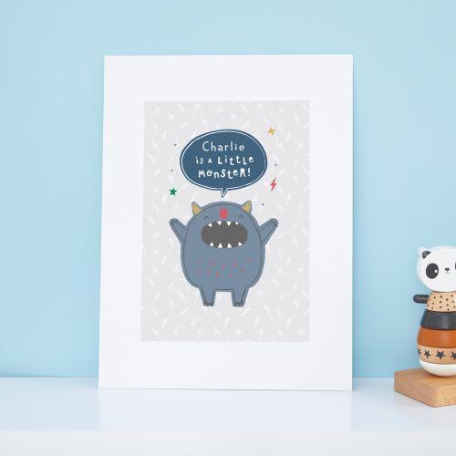 Personalised Little Monster Design Wall Art